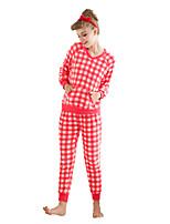 Costumes Vêtement de nuit Femme A Carreaux-Epais Velours Aux femmes