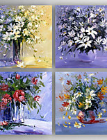 Hand-Painted Floral/Botanical Horizontal,Modern Four Panels Canvas Oil Painting For Home Decoration