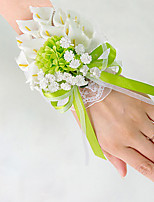 Wedding Flowers Free-form Lilies Peonies Wrist Corsages Wedding Party/ Evening Green Satin