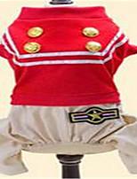 Chien Combinaison-pantalon Vêtements pour Chien Printemps/Automne Britannique Mignon Noir Rouge