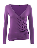 Women's Going out Casual/Daily Sexy Sophisticated T-shirt,Solid V Neck Long Sleeve Rayon