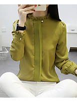 Women's Simple Blouse,Solid Round Neck Long Sleeve White Black Green Cotton