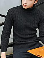 Herren Standard Pullover-Lässig/Alltäglich Ausgehen Einfach Solide Rollkragen Langarm Andere Frühling Herbst Mittel Mikro-elastisch