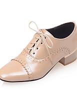 Damen-High Heels-Büro Kleid Lässig-PU-Blockabsatz Block Ferse-Club-Schuhe-Weiß Schwarz Rot Mandelfarben