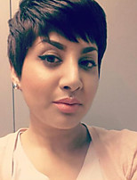 Predominante parcial franja preto cabelo curto cabelo humano