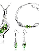 Jewelry Set Crystal Fashion Euramerican Platinum Plated Austria Crystal Leaf Geometric Drop Purple Rose Red Red Green Blue Necklace Bracelet Earrings