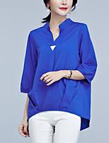 Для женщин На выход Офис Блуза V-образный вырез,Простое Изысканный Однотонный Рукав ¾,Искусственный шёлк Полиэстер
