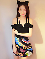 Women's Going out Sexy Summer Tank Top Skirt Suits,Print Strap Sleeveless Cotton