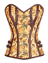 Women's Tan Satin Globe Print Overbust Corset with Thong