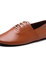 Черный Желтый Темно-коричневый-Для мужчин-Повседневный Для занятий спортом Для вечеринки / ужина-Кожа-На плоской подошве-Удобная обувь-