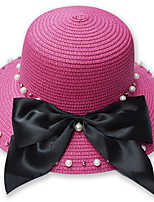 Women 's Summer Fisherman Leisure Sun Solid Color Bow pearl  Foldable Tourism Basin Cap