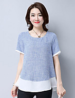 Women's Casual/Daily Street chic Summer T-shirt,Solid Round Neck Short Sleeve Polyester Medium