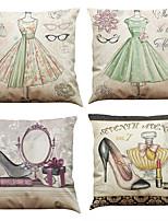 Set of 4  Romantic European Style Pattern  Linen Pillowcase Sofa Home Decor Cushion Cover