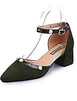 Women's Sandals Summer T-Strap Fleece Outdoor Dress Casual Chunky Heel Imitation Pearl Walking