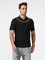 Tee-shirt Homme,Imprimé Sortie Décontracté / Quotidien Travail simple Manches Courtes Col de Chemise Coton