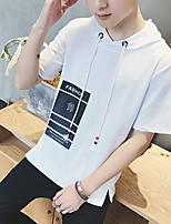 Men's Casual/Daily Hoodie Letter Round Neck Micro-elastic Cotton Short Sleeve Summer