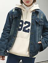 Для женщин На выход На каждый день Офис Весна осень Джинсовая куртка Рубашечный воротник,Винтаж Уличный стиль Изысканный Однотонный