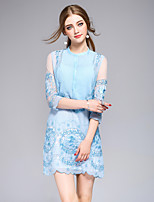 DFFDWomen's Going out Casual/Daily Party Sexy Simple Street chic Shift DressEmbroidered Stand Above Knee  Sleeve Polyester Spring SummerMid