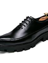 Черный Желтый Красный-Для мужчин-Свадьба Для офиса Повседневный Для вечеринки / ужина-Дерматин-Микропоры-Криперы-Туфли на шнуровке