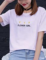 Знак хлопок футболку вокруг шеи короткий пункт лето женщин полосатые рубашки печати вышивка студентов загружены дна