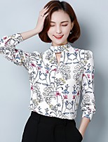 Women's Casual/Daily Simple Shirt,Floral Round Neck Long Sleeve Others