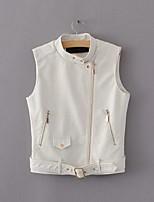 Для женщин На каждый день Весна осень Джинсовая куртка Воротник-стойка,просто Однотонный Короткие Без рукавов,Полиуретановая
