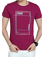Men's Plus Size Casual/Daily Beach Simple Street chic Active Summer T-shirt,Solid Round Neck Short Sleeve Cotton Thin Medium