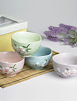 High Quality Japanese Plum Flower Designed Ceramic Dining Bowl Dinnerware one set with Four Colors