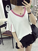 Women's Going out Casual/Daily Simple Cute Summer Fall T-shirt,Solid V Neck Short Sleeve Cotton Medium