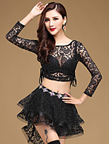 Belly Dance Outfits Women's Training Lace Modal Pleated Sexy 2 Pieces Dance Costumes Long Sleeve Natural Top Skirt Red / White / Black