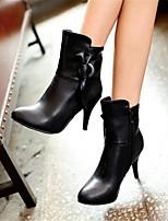 Damen-Stiefel-Lässig-PU-Blockabsatz-Komfort-Schwarz Mandelfarben