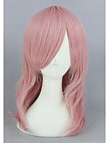 courts bouclés perruque cosplay anime 16inch synthétique rose cs-265a
