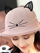 Women 's Summer Dome Curling Cat Print Ear Basin Cap Fisherman Beach Straw Hat