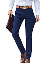 Men's Straight Slim Chinos PantsCasual/Daily Simple Solid Mid Rise Button Cotton Spandex Micro-elastic All Seasons HY-005