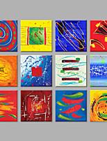 Ручная роспись Абстракция Квадратная,Modern более 5 панелей Холст Hang-роспись маслом For Украшение дома