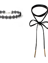 2pcs/set Women's Choker Necklaces Jewelry Single Strand Flower Lace Velvet Unique Design Dangling Style Classic DIY Jewelry ForWedding Gift Daily