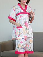 Men Women Chemises & Gowns Nightwear,Print Solid-Medium Cotton Women's
