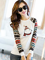 Women's Casual/Daily Simple T-shirt,Print Round Neck Long Sleeve Cotton Thin