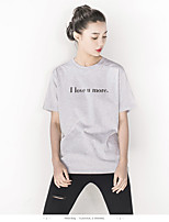 Women's Casual/Daily Holiday Simple Summer T-shirt,Solid Letter Round Neck Short Sleeve Cotton Thin