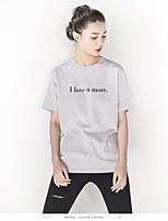 Feminino Camiseta Casual Férias Simples Verão,Sólido Letra Algodão Decote Redondo Manga Curta Fina