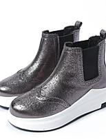 Черный Серебряный-Для женщин-Повседневный-Наппа Leather-Микропоры-Удобная обувь-Обувь на каблуках