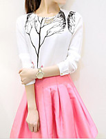Women's Casual/Daily Simple Summer T-shirt Skirt Suits,Floral Round Neck ¾ Sleeve Cotton