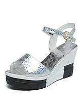 Women's Sandals Summer Mary Jane Leatherette Outdoor Dress Casual Wedge Heel Sequin Buckle Walking