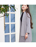 Women's Going out Casual/Daily Regular Cardigan,Solid Deep U Long Sleeve Rabbit Fur Spring Fall Medium Micro-elastic
