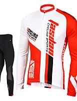 TASDAN® Maillot de Ciclismo con Mallas Hombres Mangas largas BicicletaTranspirable / Secado rápido / Cremallera delantera / Reductor del