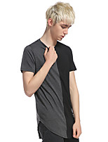 Men's Casual/Daily Sports Simple Active Summer T-shirt,Color Block Patchwork Round Neck Short Sleeve Cotton Rayon Thin
