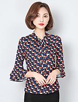 Women's Casual/Daily Street chic Shirt,Print Shirt Collar ¾ Sleeve Rayon