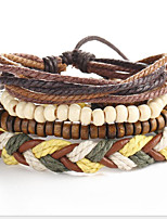 Strand Wrap Bracelet Leather Circle Vintage Punk Men's Women's Jewelry 1pc