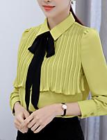 Chemise Femme,Couleur Pleine Décontracté / Quotidien Travail simple Printemps Eté Manches Longues Col de Chemise Polyester Moyen