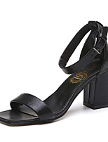 Sandals Summer Club Shoes Leatherette Outdoor Dress Casual Chunky Heel Buckle Walking